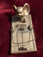 """Vintage Early Enesco Brass Mouse On Trap Figurine Paper Weight3.5"""" Long"""