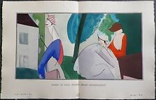 J.-L. BOUSSINGAULT Pochoir Art Déco ORIGINAL planche double 1914 GAZETTE BON TON