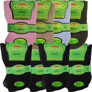 Womens Extra Wide Comfort Fit Diabetic Ladies Socks Oedema Poor Circulation 4-8