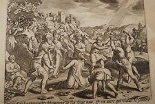 GRAVURE SUR CUIVRE BLASPHEMATEUR LAPIDE-BIBLE 1670 LEMAISTRE DE SACY  (B49)