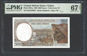 Central African States/Gabon 500 Francs 1993 P401L Uncirculated Grade 67 Top Pop