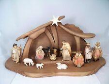 Weihnachtskrippe Holz geschnitzt: Stall + 14-teiliges Figuren Set 9cm neu Krippe