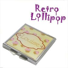 Retro Lollipop Contemporary Personalised Cup Cake Handbag Mirror - XHMRL006