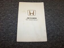 1991 Honda Accord Coupe Owner Owner's Manual User Guide 2 Door DX LX EX SE 2.2L
