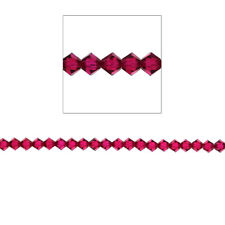 4mm Bicone Crystal Beads, Ruby, 100pc,Loose Beads, Made with Swarovski