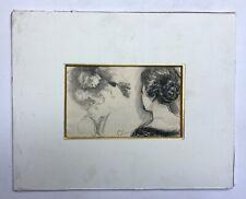 Dessin ancien signé, Fusain ou craie noire, Personnages, Fin XIXe