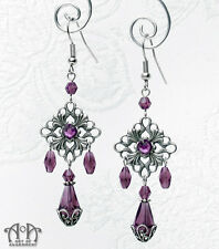 Gothic Antique Silver PURPLE CRYSTAL CHANDELIER EARRINGS Rhinestone Filigree E05
