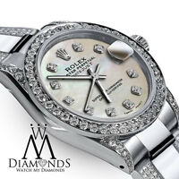 Women's 31mm SS Rolex Oyster Perpetual Datejust Custom White MOP Diamond Dial
