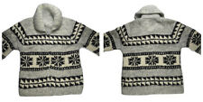 Cowichan Sweater Cardigan XL Thick Wool Tribal Hand Knitted Canada Shawl Zip Vtg