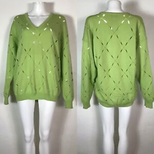 Rare Vtg Gianni Versace Green Slash Sweater M SS1994