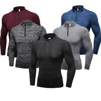 Men's Compression Top 1/4 Zip Dri fit Running Basketball Shirt Gym Base Layers