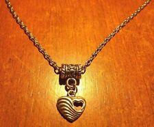 collier chaine argenté 46 cm avec pendentif coeur troué coeur 13x14 mm