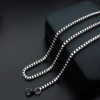 Hot Man Women 316L Stainless Steel 2mm/3mm/4mm/5mm Silver Box Chain Necklace