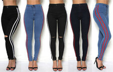 Womens High Waisted Slim Skinny Jeans Jeggings Ladies Side Stripe Pants 6-16