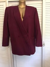 Handmade Crimson Longline Wool Jacket Fully Lined European Blazer Size 16-18