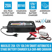 Maxxlee 20A 12V 24V Smart Automatic 8 Stage Fast Battery Charger SLA Car 4WD Car