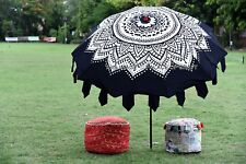 Garden Umbrella Ethnic Mandala Round Patio Sunshade Parasol Hippie Cotton Patio