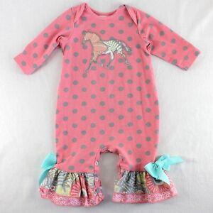 Ricrac & Ruffles Romper Baby Girls Sz 3-6 Months Coral Polka Dot Horse Applique