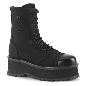 Demonia GRAVEDIGGER-10 Men's Black Canvas Goth Punk Ska Skater Zipper Ankle Boot