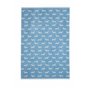 Emily Bond Blue Sausage Dog Dachshund Bath Towel BNWT