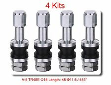 4 Kits Flash Mount High Pressure Tubeless Metal/Chrome Clamp-in tire Valve