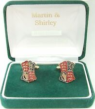 HALF CROWN CUFFLINKS from real coins in Blue & Red & Gold