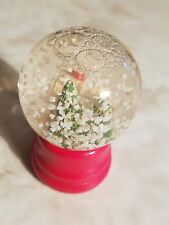 Vintage Christmas Snow Globe Dome Red Wood Base Cottage & Pine Trees