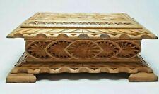 Vintage Carved Soviet Wooden Casket Handmade by USSR