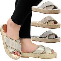 Ladies Espadrilles Womens Diamante Flat Beach Sliders Summer Sandals Mules Shoes