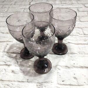Vtg Libby Garden Vine Water Goblets Amethyst Set Of 4