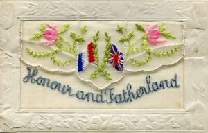 HONOUR AND FATHERLAND - EMBROIDERED SILK POSTCARD WITH POCKET & INSERT CARD