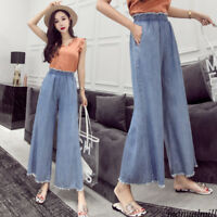 Chic Women Denim Elastic Waist Flare Jeans Loose Casual Trousers Wide Leg Pants