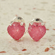 Fashion jewelry Womens White Gold Plated Pink CZ  earrings Heart earings