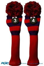 New 2 pc BLUE RED 3 4 VINTAGE KNIT Hybrid Rescue golf club headcover Head cover