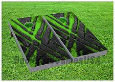VINYL WRAPS Cornhole Board DECALS Monster Green Black BagToss Game Stickers 838