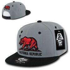 California Republic Red Bear Gray & Black Flat Bill Flat Bill Snapback Snap Back