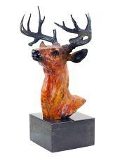 Tall Deer / Stag Bust - Bronze Figurine on Marble base - signed Bonheur - statue