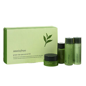 innisfree green tea special kit EX 4 items (Skin + Lotion + Cream + Serum)