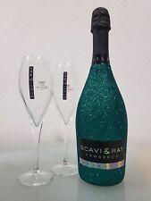 Scavi & Ray Prosecco 0,75 ltr. Bling Edition Glitzer Grün mit 2 Prosecco Gläser