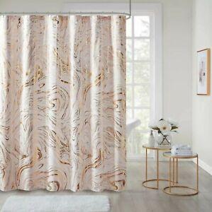 Intelligent Design Rebecca Fabric Shower Curtain Metallic Marble Design Machi...