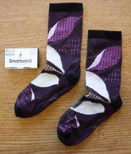 "NWT SMARTWOOL Merino Wool ""Kimono Leaf"" Womens Crew Socks-Medium @$22 PURPLE"
