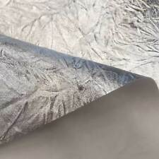 Stoff Meterware Kunstleder silber Knitterlook Lederimitat Bezugsstoff Crinkle