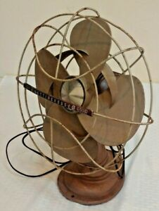 Vintage Westinghouse 12LA5A Rotating Desk Fan Metal Cage Works Movies Art Deco