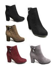 Womens Ladies Suede Ankle Boots Block Mid High Heels Zip Up Buckle Design Smart