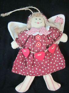 "Folk Art Rag Doll 7"" Angel with Hearts Ornament Valentines Day"
