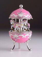 Pink Easter Egg Horse Carousel Trinket Box by Keren Kopal music box w/ crystal