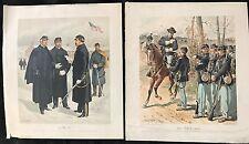 OGDEN H.A. DEUX LITHOGRAPHIES MILITAIRES AMÉRICAINES EN COULEUR XIXÈME  XXVII XL