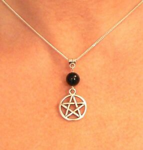 Pentacle and Black Onyx Gemstone Necklace Pagan Beltane Pentagram Gift
