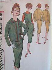 Rare VTG 64 SIMPLICITY 2650 Boatneck Dress or Jumper & Jacket PATTERN 12/32B