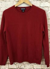 Lands End 100% cashmere sweater womens medium red crew neck long sleeve 10/12 E1